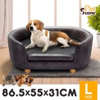 Petscene Large Dog Cat Bed Luxury PVC Leather Pet Bed Sofa Soft Lounge Couch
