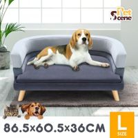 Petscene Luxury Pet Bed Sofa Large Cat Dog Bed Wood Frame High Density Sponge