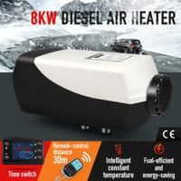 8kW 12V RV Diesel Air Heater Kit Portable Vehicle Heater w/ LCD Remote Control - Black & Grey