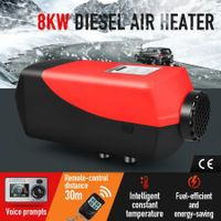 8kW 12V RV Diesel Air Heater Kit Portable Vehicle Heater w/ LCD Intelligent Voice Remote Control - Black & Red
