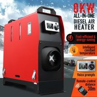 All in One 12V 8kW Diesel Air Heater w/ LCD Intelligent Voice Remote Control - Black & Red
