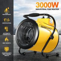 2-in-1 3000W Portable Electric Industrial Fan Heater Free Standing Carpet Dryer SAA Yellow