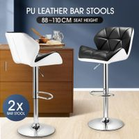 2x Modern PU Leather Bar Stools Cushioned Backrest Swivel Seat Adjustable Height w/ Footrest