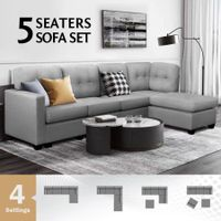 Sectional Sofa Lounge Couch Set 5 Seater Corner Sofa Linen Fabric Chair Chaise Grey