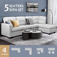 Sectional Sofa Lounge Couch Set 5 Seater Corner Sofa Linen Fabric Chair Chaise White