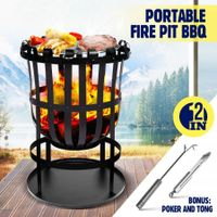 "16"" Fire Pit BBQ Grill Fireplace Outdoor Portable Brazier Camping Patio Heater"