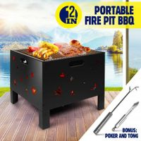 "20"" Fire Pit BBQ Grill Outdoor Fireplace Brazier Portable Camping Patio Heater"