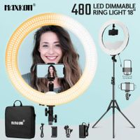 "480 LED 18"" Dimmable LED Ring Light Adjustable with Stand for Makeup Photo Studio"