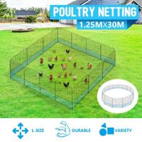 30m x 1.25m Poultry Net Chicken Fence Netting Ducks Geese Hens with 15 Posts