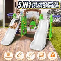5-in-1 Plastic Kids Double Slide and Swing Set with Basketball Hoops
