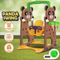 2-in-1 Panda Swing Set with Basketball Hoop