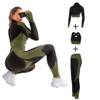 Size L 3 PCS Seamless Women Yoga Sets Female Running Fitness Sport Gym suits Col.Camouflage