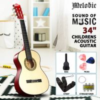 Melodic 34inch Kids Acoustic Guitar 6 Strings Tuner Cutaway Wooden Kids Gift Natural Colour