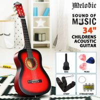 Melodic 34inch Kids Acoustic Guitar 6 Strings Tuner Cutaway Wooden Kids Gift Red