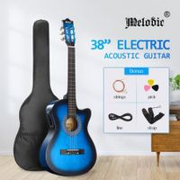 Melodic Blue 38 Inch Electric Acoustic Guitar Classical Cutaway 6 Strings for Beginners w/ Bag