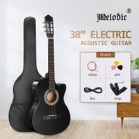 Melodic Black 38 Inch Electric Acoustic Guitar Classical Cutaway 6 Strings for Beginners w/ Bag