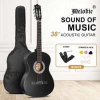 Melodic 38 Inch Round Acoustic Guitar Pack Classical Cutaway Black