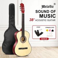 Melodic 38 Inch Round Acoustic Guitar Pack Classical Cutaway Natural Colour