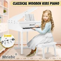 Melodic Classical Kids Piano Baby Grand Piano 30 Keys with Bench White