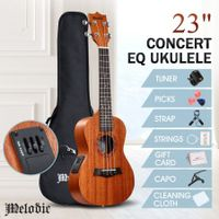 Melodic 23inch Electric Concert Ukulele Mahogany Hawaii Guitar EQ for Beginners