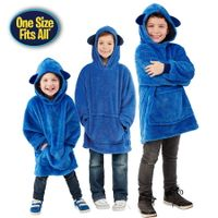 Hooded Robe Coral Fleece Sherpa KIDS Universal fit size Color Puppy Blue