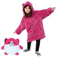 Hooded Robe Coral Fleece Sherpa KIDS Universal fit size Color Kitty Fucia