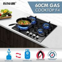60cm Gas Cooktop 4 Burner Gas Hob Black Tempered Glass Top Gas Stove NG LPG