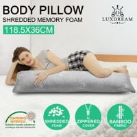 Luxdream Shredded Memory Foam Body Pillow Support Long Pillow with Bamboo Cover
