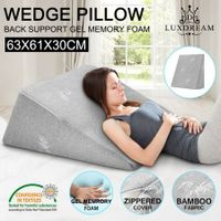 Luxdream Memory Foam Wedge Pillow Back Neck Support Cushion with Bamboo Cover