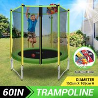 Genki 60 Inch Kids Round Trampoline with Safety Enclosure & Basketball Hoop