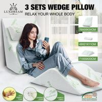 Luxdream 3 Pcs Foam Bed Wedge Pillow Headrest Leg Elevation Pillow Breathable Cover