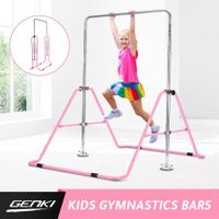 Genki Gymnastics Training Bar Height Adjustable Horizontal Bar for Kids Children Pink