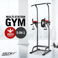 Genki Multi-Function Power Tower Adjustable Strength Training Equipment Black