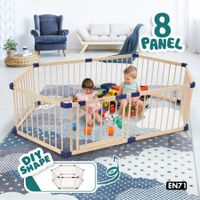 Kidbot 8-Panel Wooden Baby Playpen Kids Activity Play Center Safety Play Yard