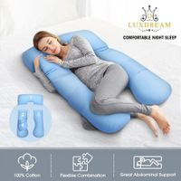 Luxdream U Shape Full-body Pregnancy Sleeping Body Support Maternity Pillow Light Blue