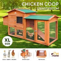 178cm XL Wooden Chicken Coop House 2-Storey Run Rabbit Hutch Cage with Nesting Box