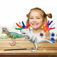 4pcs DIY 3D Painting Water Drawing Dinosaurs Figurines Graffiti Toys Set with Color Paint