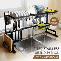 Multifunctional Kitchen Over Sink Dish Drying Rack Stainless Steel Storage Shelf Organiser