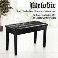 Melodic Wood Duet Piano Bench Keyboard Stool Seat with Storage