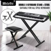 Melodic Adjustable Keyboard Stand Portable Piano Stool X-Shaped Bench Seat Set