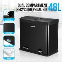 48L Dual Compartment Pedal Bin Kitchen Recycling Waste Bins Coated Steel Black