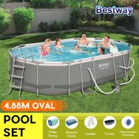 Bestway 4.88x3.05x1.07m Power Steel Frame Above Ground Oval Pool Set
