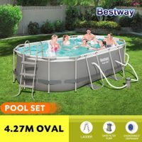 Bestway 4.27x2.50x1.00m Power Steel Frame Above Ground Oval Pool Set with Filter Pump