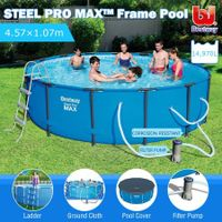 Bestway 4.57M Above Ground Metal Frame Swimming Pool w/Ladder, Cover & Filter Pump