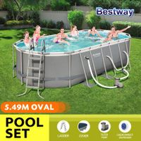 Bestway 5.49x2.74x1.22m Power Steel Frame Above Ground Oval Pool Set