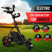 Electric Golf Trolley 3 Wheel Foldable Push Golf Buggy Cart 3 Distance Control LED Display- Black & Red