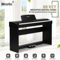 Melodic 88-Key Hammer Action Digital Piano w/ Weighted Keyboard 128 Polyphony 3 Pedals Black