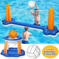Inflatable Pool Float Set Volleyball Net and Basketball Hoops
