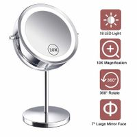 Lighted Makeup Mirror - LED Double Sided 1x/10x Magnification Cosmetic Mirror,7 Inch Battery-Powered 360 Degree Rotation Vanity Mirror with On/Off Push-Button (10x Button Switch Mirror)