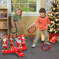 Christmas Santa Claus  Throwing Ring Toss Game Inflatable Ring Toss Game for Kids Adults